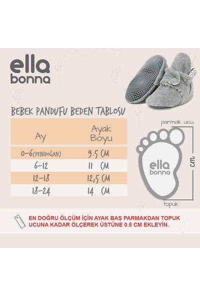 Ella Bonna Kaydırmaz Tabanlı Patik Kız Erkek Bebek Panduf Ev Botu