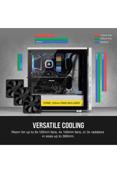 Corsair 275R Airflow Tempered Glass Mid-Tower Beyaz Kasa CC-9011182-WW