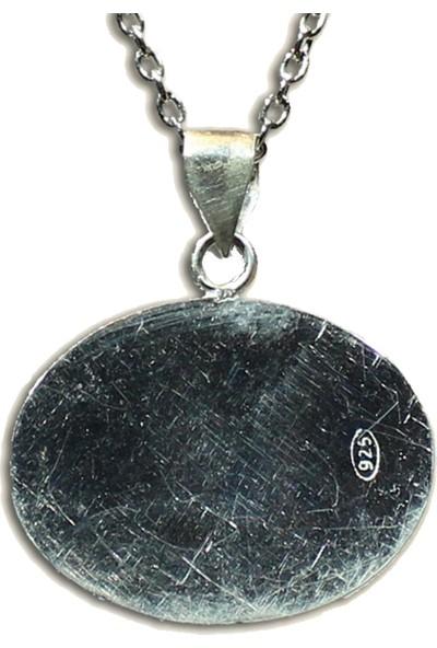 Antik Mozaik Lale Devri Kolye - Firuze ( Turkuaz ) ve Lapis Taşlardan 925 Ayar Gümüş Kolye