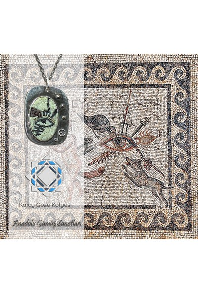 Antik Mozaik Kaicy Gözü Kolye - Akik ve Kuvars Taşlardan 925 Ayar Gümüş Kolye
