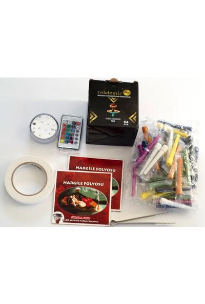 Akdise Nargile Paket 1 kg Gold Nargile Kömürü - Kalem Sipsi - Kesilmiş Folyo - Nargile Bantı - Kumandalı LED Işık ve Kömür Maşası