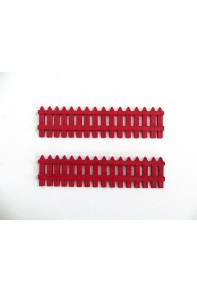 Green Wood Bahçe Çiti 3D Tasarım Minyatür Obje Kırmızı 2'li