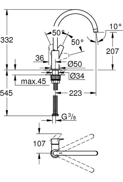 Grohe Bauedge Tek Kumandalı Eviye Bataryası 31367001