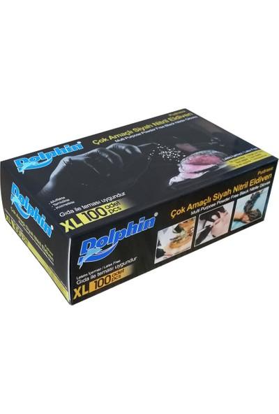 Dolphin Çok Amaçlı Gıdaya Uygun Siyah Nitril Eldiven 100'lü - X Large