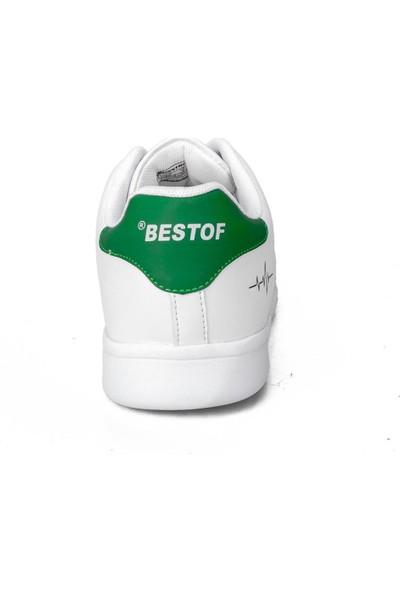 Bestof Erkek Beyaz Yeşil Günlük Sneaker Ayakkabı