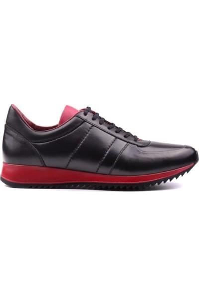 Yağlıoğlu Deri Günlük Erkek Ayakkabı Siyah Bordo
