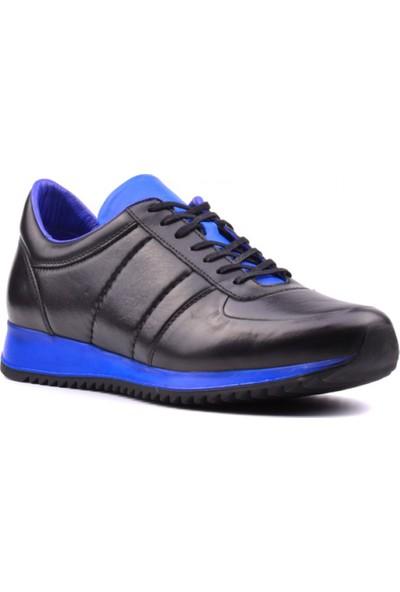 Yağlıoğlu Deri Günlük Erkek Ayakkabı Siyah Mavi