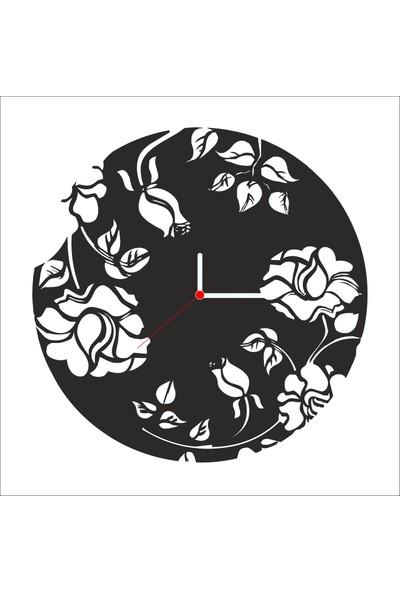 Algelsin Dekoratif Çiçek Desen Tasarımlı Ahşap Duvar Saati Mat Siyah Mdf 50 x 50 cm