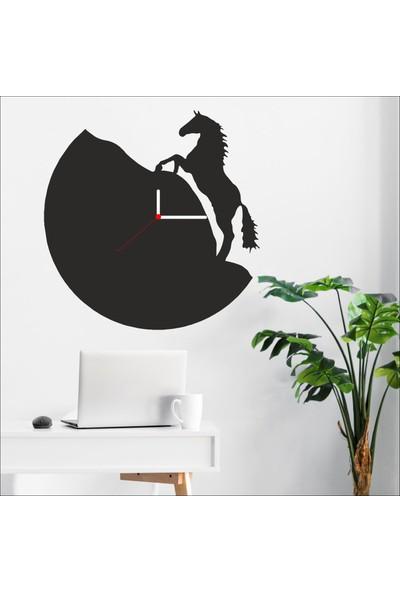 Algelsin Dekoratif At Tasarımlı Ahşap Duvar Saati Mat Siyah Mdf 50 x 50 cm