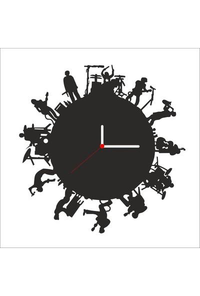 Algelsin Dekoratif Müzik Severler Için Ahşap Duvar Saati Mat Siyah Ahşap Mdf 50 x 50 cm