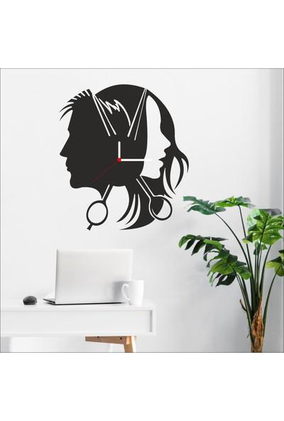 Algelsin Dekoratif Güzellik Salonu Tasarımlı Ahşap Duvar Saati Mat Siyah Mdf 50 x 50 cm