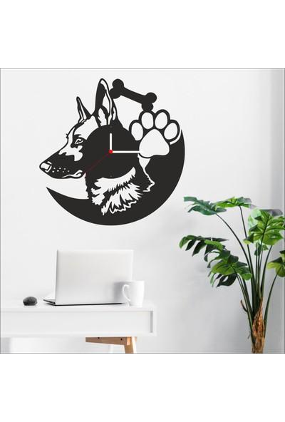 Algelsin Dekoratif Köpek Tasarımlı Duvar Saati Mat Siyah Ahşap Mdf 50X50CM