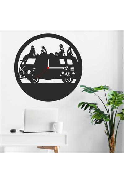 Algelsin Dekoratif Gezgin Araç Tasarımlı Ahşap Duvar Saati Mat Siyah Mdf 50 x 50 cm