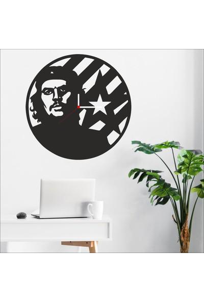 Algelsin Dekoratif Che Guevara Duvar Saati Mat Siyah Ahşap Mdf 50X50CM