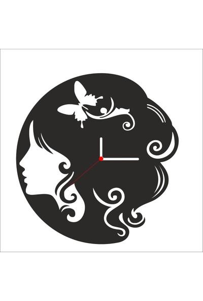 Algelsin Dekoratif Kelebekli Saç Tasarımlı Ahşap Duvar Saati Mat Siyah Mdf 50 x 50 cm
