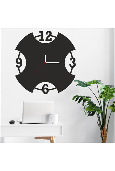 Algelsin Dekoratif Yarım Daire Tasarımlı Ahşap Duvar Saati Mat Siyah Mdf 50 x 50 cm