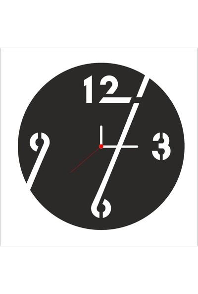 Algelsin Dekoratif Uzayan Sayılar Modelli Ahşap Duvar Saati Mat Siyah Mdf 50 x 50 cm