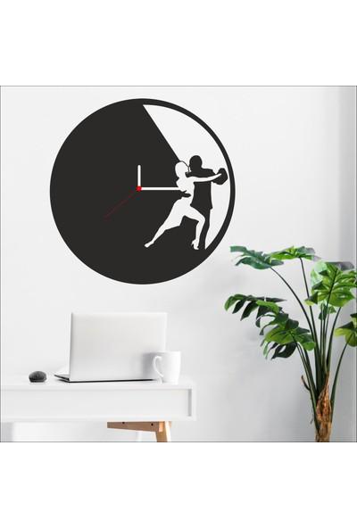Algelsin Dekoratif Dansçı Tasarımlı Ahşap Duvar Saati Mat Siyah Mdf 50 x 50 cm