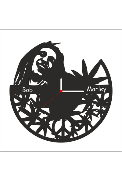 Algelsin Dekoratif Bob Marley Tasarımlı Ahşap Duvar Saati Mat Siyah Mdf 50 x 50 cm