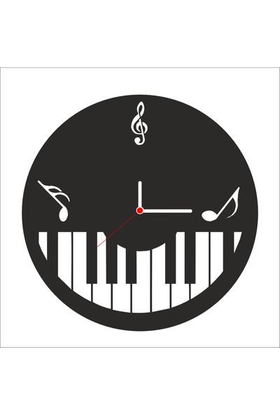 Algelsin Dekoratif Piyano Tasarımlı Ahşap Duvar Saati Mat Siyah Mdf 50 x 50 cm