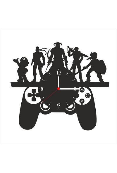 Algelsin Dekoratif Oyun Konsolu Joystick Modelli Ahşap Duvar Saati Mat Siyah Ahşap Mdf 50 x 50 cm