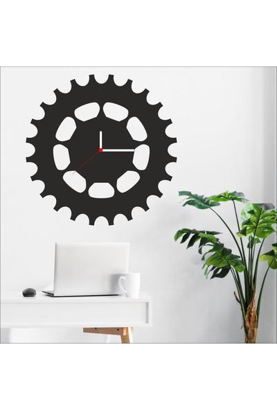 Algelsin Dekoratif Çark Tasarımlı Mdf Ahşap Duvar Saati Mat Siyah 50 x 50 cm