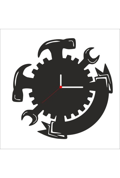 Algelsin Dekoratif Çekiç Tasarımlı Ahşap Duvar Saati Mat Siyah Mdf 50 x 50 cm