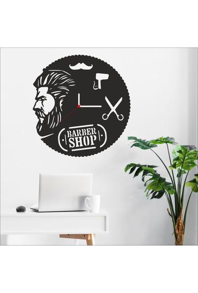 Algelsin Dekoratif Berber Dükkanı Tasarımlı Ahşap Duvar Saati Mat Siyah Mdf 50 x 50 cm