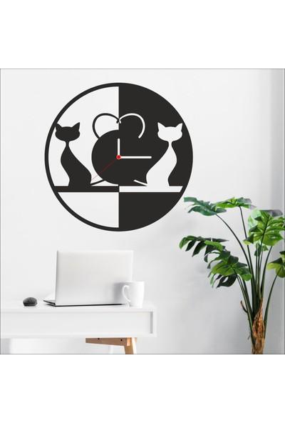 Algelsin Dekoratif Kedi Tasarımlı Ahşap Duvar Saati Mat Siyah Mdf 50 x 50 cm