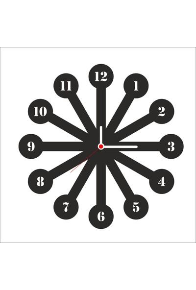 Algelsin Dekoratif Halka Tasarımlı Ahşap Duvar Saati Mat Siyah Mdf 50 x 50 cm