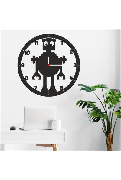 Algelsin Dekoratif Robot Tasarımlı Ahşap Duvar Saati Mat Siyah Mdf 50 x 50 cm