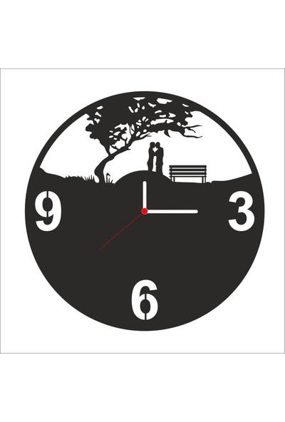 Algelsin Dekoratif Aşk Doğa Tasarımlı Ahşap Duvar Saati Mat Siyah Mdf 50 x 50 cm