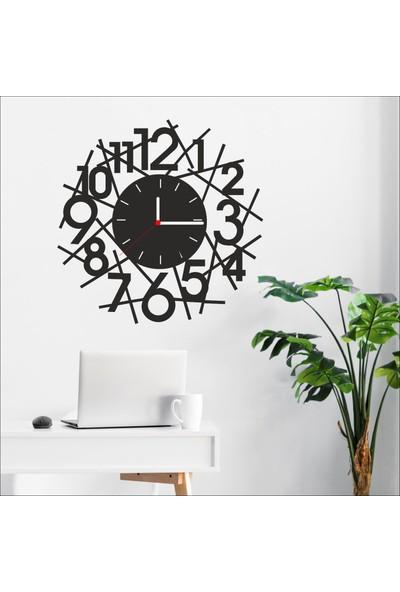 Algelsin Dekoratif Estetik Sayılar Modelli Ahşap Duvar Saati Mat Siyah Ahşap Mdf 50 x 50 cm