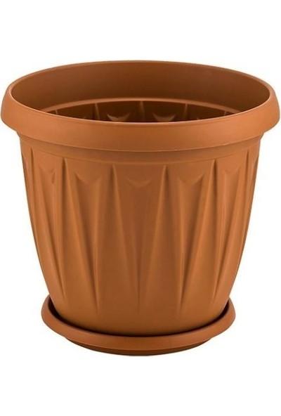 Şenyayla 5704 5 Lt Ürgüp Tabaklı Plastik Saksı Kahverengi