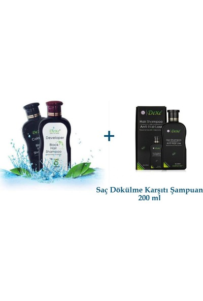 Dexe Siyah Saç Boyası Şampuanı 200 ml + 200 ml + Saç Dökülme Karşıtı Şampuan 200 ml