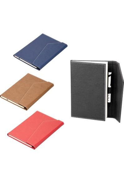 Termoderi Kapaklı Not Defteri Çizgili 13 x 21 cm Kırmızı