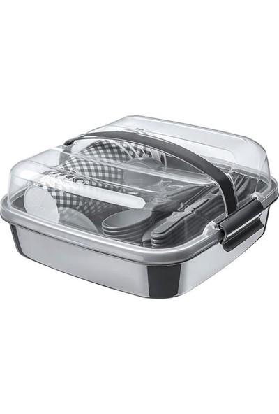 Nargo Lovely 32 Parça Piknik Seti İç İçe Geçebilen Çatal + Kaşık + Bıçaklı Süper Gri
