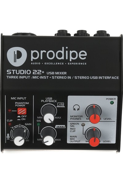 Prodipe Studio 22+ Interface 3x2 USB Ses Kartı ve Mixer