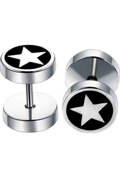 VipBT Yıldız Dambıl Paslanmaz Çelik Çift Erkek Küpe