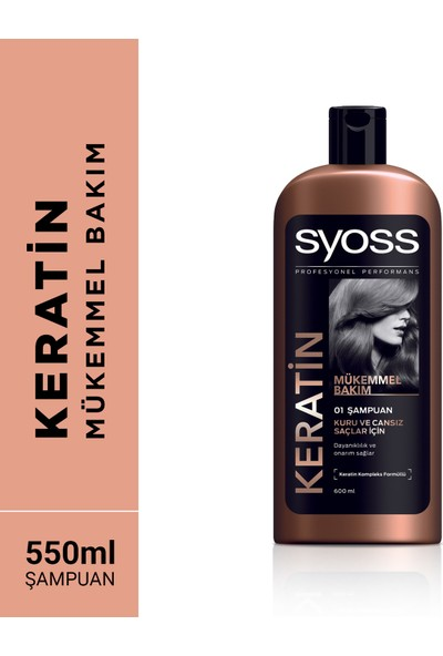 Syoss Şampuan Keratin Mükemmelliği 550 Ml