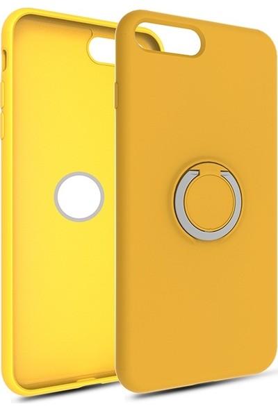 Vendas Apple iPhone 7 Plus Yüzüklü Stand Özellikli Refleks Serisi Premium Silikon Kılıf Sarı