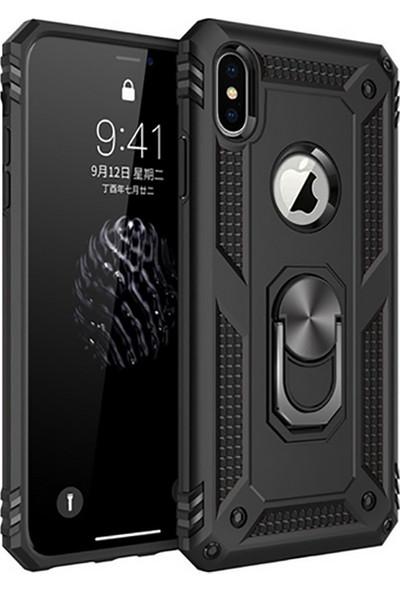 Vendas Apple iPhone X Yüzüklü Stand Özellikli Sert Silikon Kılıf Siyah