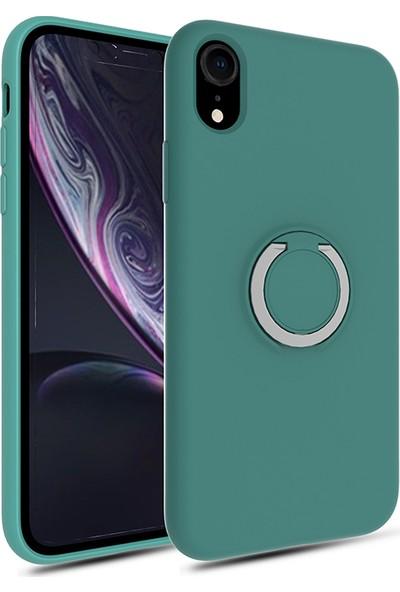 Vendas Apple iPhone XR Yüzüklü Stand Özellikli Refleks Serisi Premium Silikon Kılıf Yeşil