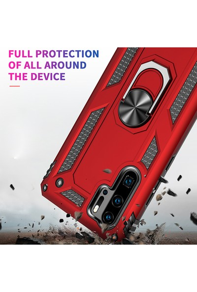 Vendas Huawei P30 Pro Yüzüklü Stand Özellikli Sert Silikon Kılıf Gold