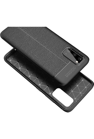 Vendas Samsung Galaxy S20 Deri Desenli Premium Silikon Kılıf Lacivert