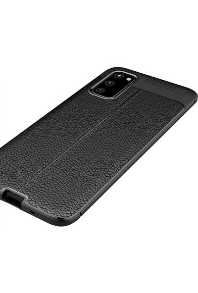 Vendas Samsung Galaxy S20 Deri Desenli Premium Silikon Kılıf Siyah