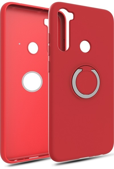 Vendas Xiaomi Redmi Note 8 Yüzüklü Stand Özellikli Refleks Serisi Premium Silikon Kılıf Kırmızı