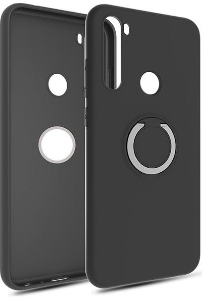 Vendas Xiaomi Redmi Note 8T Yüzüklü Stand Özellikli Refleks Serisi Premium Silikon Kılıf Siyah