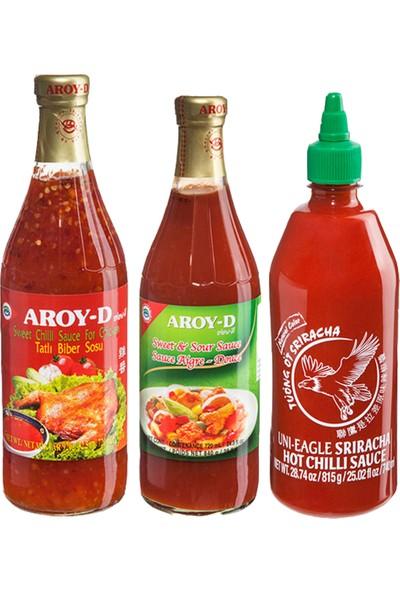 Koza Gıda Sos Paketi Tatlı Biber Sosu-Tatlı Ekşi Sos-Sriracha Acı Biber Sosu