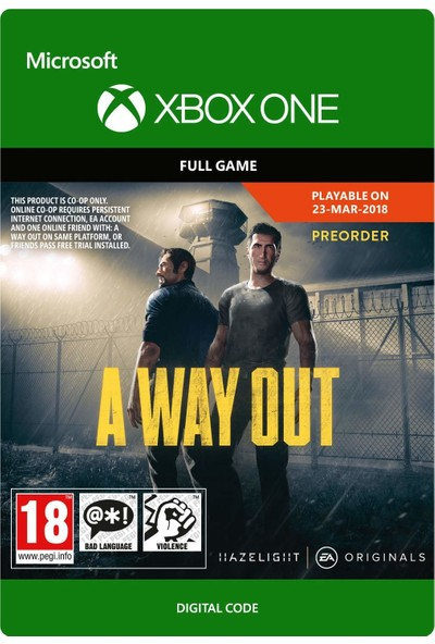 A Way Out Xbox One Dijital Oyun
